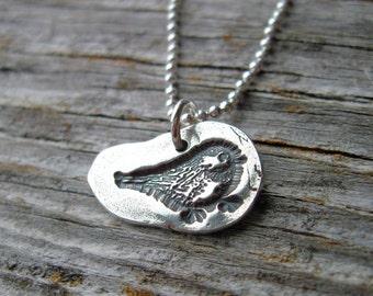 Fine Silver Baby Bird Necklace-Silver Bird Necklace-Silver Necklace- Fine Silver Necklace-Baby Chick Necklace-Bird Necklace-Bird Jewelry