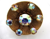 Supernova Ring - 1960's vintage iridescent Aurora Borealis glass cluster on bronze disk on adjustable ring - Free Shipping to USA