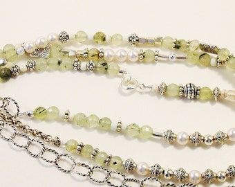prehnite, crystal pearl, bead and silver wrappable 41 inch necklace