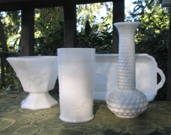 Vintage Milk Glass Assortment - Vases Compote Tray - Spring/Summer Wedding - Holiday Dining