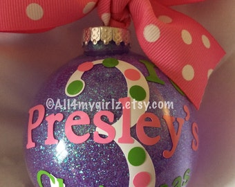 Babys 3rd Christmas Ornament Personalized Custom with Bow Ribbon 3rd Christmas 2014
