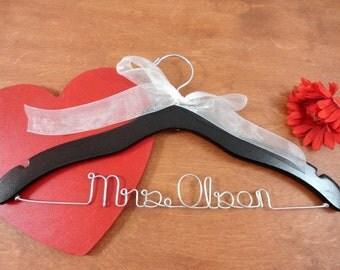 Last Name Hangers Custom Name Hangers Bridal Hangers Bridal Accessories Wedding Dress Hangers Personalized Hangers Bride Hanger