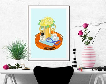 Hermes Tray Fashion Illustration Art Poster