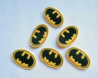Bat Silhouette Matchine Embroidered Felt Applique Embellishments - 306