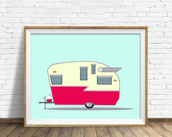 Shasta Airflyte, 1952 - art print, drawing, vintage camper, large art, large wall art, mid century modern, fine art prints, wall art prints