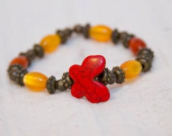 Butterfly bracelet red gemstone stretch bracelet stacked jewelry layer bracelet boho chic hippie fashion