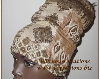 Natural Hair Accessories-HeadBand-HeadTube-Brown-Tan-Fall Print