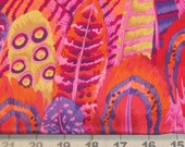 Fabric 1/2 yd Kaffe Fassett Collective - Brilliant Feathers in Orange Red Gold Purple from Westminister Fibers - Craft Quilt Fiber Arts