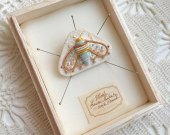 Gorgeous  handmade white and pale blue moth brooch