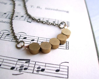SALE Golden Circles Row necklace - solid brass disc beads - modern