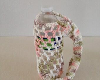Crochet water bottle carrier holder - multicolor