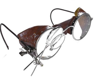 Steampunk Goggles Vintage WILLSON Steam Punk Glasses Perforated BROWN LEATHER Side Shields Leather Bridge Magnifier Loupes - by edmdesigns