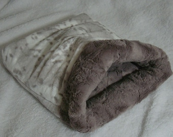 Snuggle Sack  - Cat Cave -  Silver Lynx Minky Fur -  Includes Embroidered Personalization - Several Sizes To Choose From