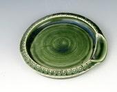 Green Spoon Rest - Pottery Spoon Rest - Ceramic Spoon Holder - Wheel Thrown Utensil Holder