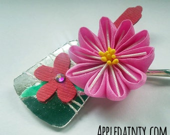 Pink Aster with Hagoita Hairpin