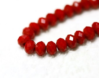 25 pcs. 6x4mm. Red Coral Faceted Rondelle Chinese Glass Crystal