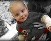 Newborn Sock Monkey Sweater Hand Knit