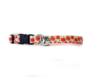 3/8 Wide Collar for Cat or Tiny Puppy in Poppies