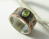 Peridot Ring, Green Gemstone Ring, August Birthstone Fine Silver And Copper Ring, Mixed Metal Ring Artisan Jewelry, Metalsmith Unisex Ring,