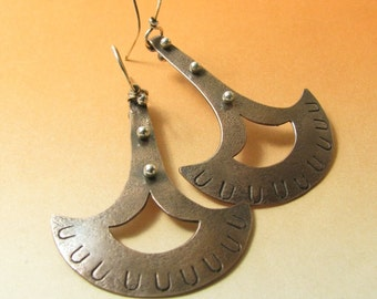 Artisan Earrings, Tribal Earrings, Ax Earrings, Silver and Copper Earrings, Mixed Metal Earrings, Statement Earrings, Exotic Large Earrings