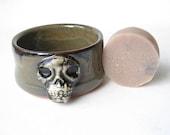 Skull Shaving Bowl with Handmade Shaving Soap