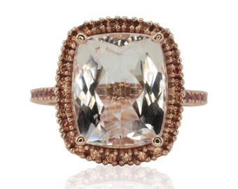 Morganite Engagement Ring, 5 Carat Peach Sapphire Halo Morganite Engagement Ring, Filigree Engagement Ring - Bel Canto Collection - LS3901