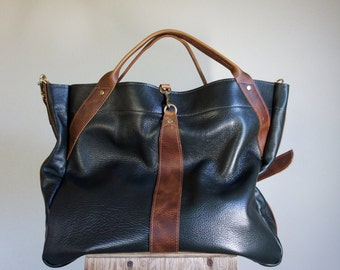 For Rawna//NEW//JOSEPHINE Shopper In Hunter Green Leather with Brown Horween Leather Accents and Clip on Adjustable Strap