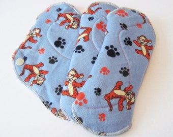 Tigger Printed Flannel Reusable Regular Flow Cloth Mama Pads Set of 3 . 8 Inch FREE Shipping