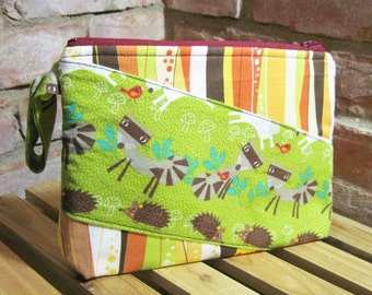 Raccoons & Hedgehogs  Printed Cotton Make-up Bag / Toiletry Bag / Wet Bag with Snap Handle - FREE SHIPPING