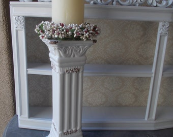 Architectural Column Antique Style Roman  12 inch tall candle holder French Design candle holder