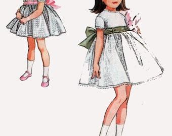 1960s Girls Dress Pattern Full Skirt BABYDOLL Dress w/ Empire Waist & Petticoat McCalls 8027 Vintage 60s MOD Sewing Pattern Size 1