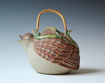Vintage quail bird shaped teapot decorated with Mulberry leaf and caterpillars bamboo handle