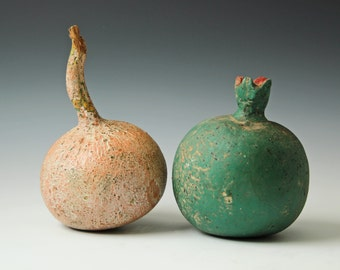 Two decorative fruits gourd pomegranate made of plaster, muted colors green and mauve, home decor