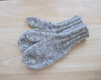 Child Medium Mittens Wool Hand Knit Birch Tweed
