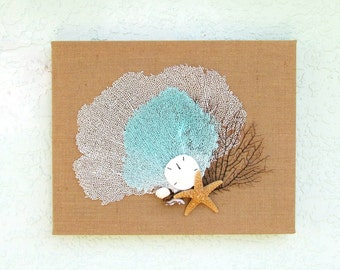 Sea Fan Wall Hanging, Burlap with Aqua White and Black Seafans and Sugar Starfish, 16 x 20 Inches, Coastal Beach Wall Art Decor