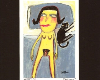 Nakedness - Art Print Giclee, naked with cat by Murphy Adams