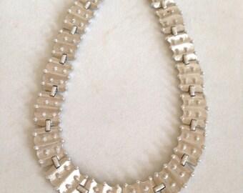 Modernist Trifari Silver Necklace Mid Century 50s