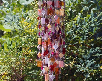 Sorbet à l'orange Glass Wind Chime, Suncatcher, Gift For Her, Anniversary, Birthday, Wedding, Housewarming, Garden Art, One Of A Kind