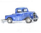 Little Blue Truck Wall Art Print - Cute Blue Pickup Truck Dozer - Old Blue Truck - Watercolor Wall Art for Boys