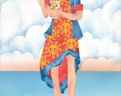 Fabric Art Panel - Beach Babe HOPE