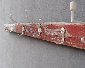 Oar Coat Rack, Vintage Oar, Organizer Rack, Towel Holder, Boatwood, Driftwood, Nautical Beach Home Decor