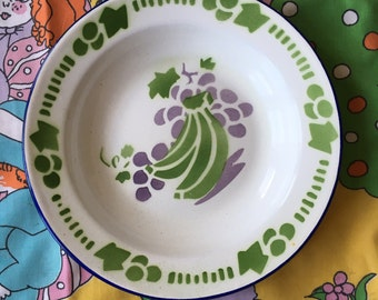 Vintage Enamelware Bowl,  Mess Hall Soup Bowl, Vintage Glamping Dish, White Purple and Green, Fruit Bowl, Butterfly Brand