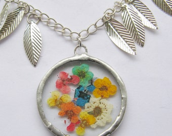 flower necklace - silver leaf necklace - statement flower necklace - real flower necklace - pressed flower jewelry - rainbow necklace