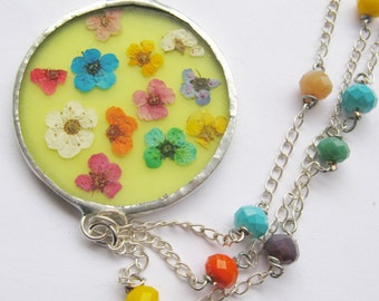 asymetrical flower necklace - yellow flower necklace - statement flower necklace - real flower necklace - pressed flower