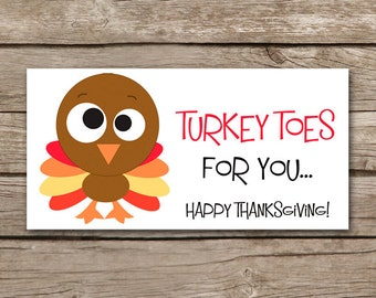 Thanksgiving Treat Bag Topper, Thanksgiving Tag, Turkey Toes, Thanksgiving Sticker, Thanksgiving Label, INSTANT DOWNLOAD