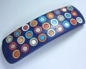 Fimo Hair Barrette Polymer Clay Navy Blue Circles Polka Dot