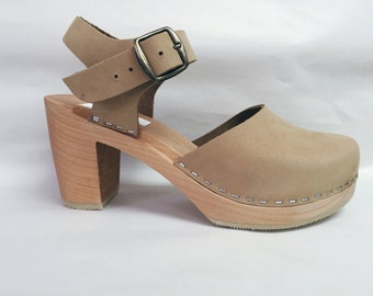 Nude Nubuc Mary Jane on a natural Super High Heel with buckled ankle strap