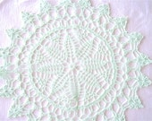 Medium Size- Mint Green Colored Hand Crocheted Thread Round Doily 13""