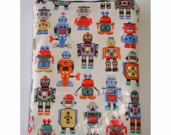 "Kindle 6 Wi-Fi Paperwhite or Kindle Touch 6"" Nook or Kobo Case Padded Pouch Sleeve Cath Kidston Robot PVC Oilcloth Robots"