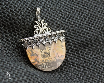 Blade Song // Jasper and Sterling Filigree, Pinned bail pendant Necklace by BellaLili